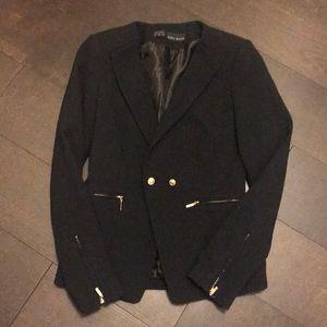 Zara navy blazer gold buttons zipper xs